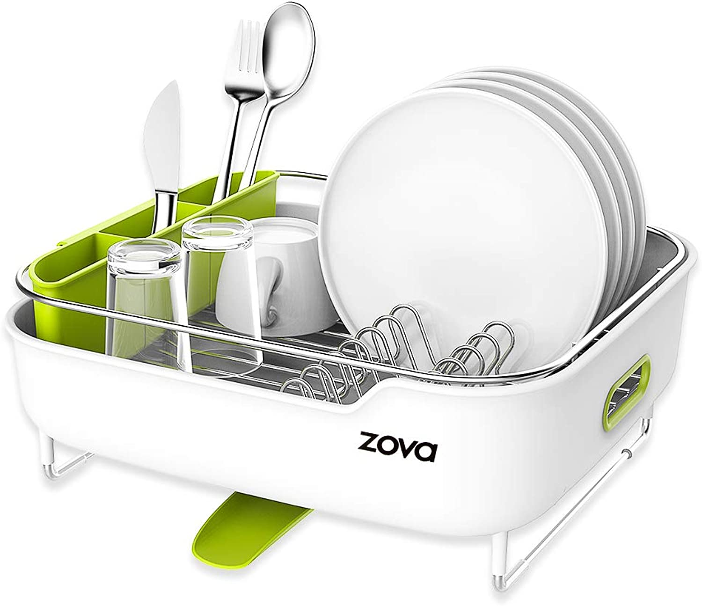 Zova Premium Edelstahl Abtropfgestell mit Schwenkauslauf, Abtropfgestell Utensil Organizer für Schneidebrett, mittelgro, Wei & Grün