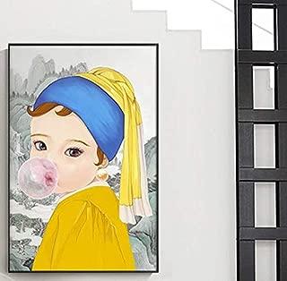 XQWZM Impresión de póster de Dibujos Animados Abstractos, Mona Lisa Canvas Painting Modern Cute Girl Poster Print Character Wall Art Picture, para la decoración de la Sala de Estar 40 * 60Cm