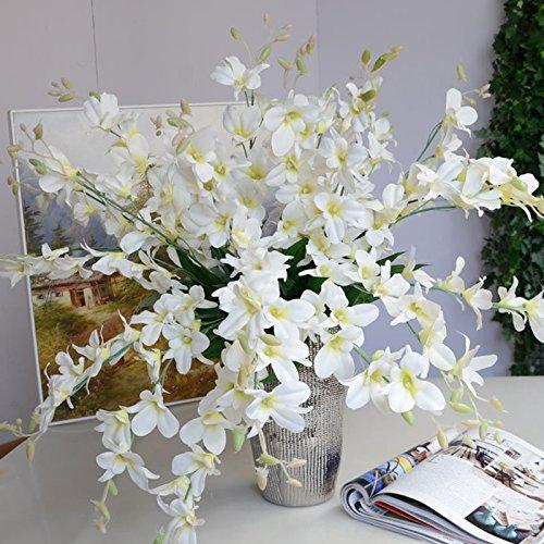 Infilm Künstliche Orchideen-Zweige, Seidenblumen für Zuhause, Hochzeit, Garten, Dekoration, Esstisch, Dekoration, 10 Stück weiß