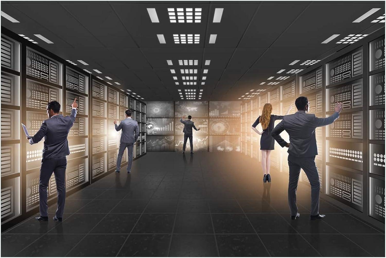 Wallario Acrylglasbild Business - Geschftsleute im Datenzentrum - 60 x 90 cm in Premium-Qualitt  Brillante Farben, freischwebende Optik