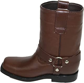 Unisex Kids Genuine Soft Cow Hide Brown Leather Motorcycle Harness Boots