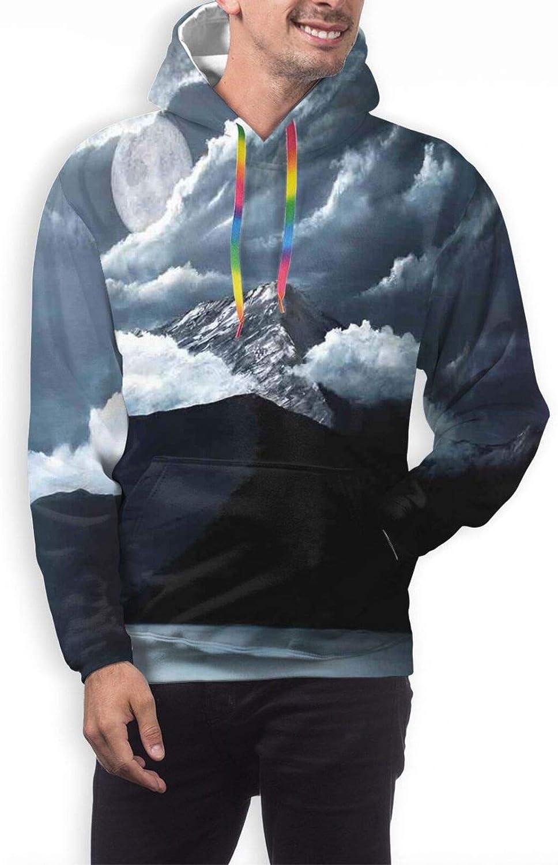 TENJONE Men's Hoodies Sweatshirts,Moon Magic and You Inspirational Messy Modern Brush Pen Calligraphy with Stars