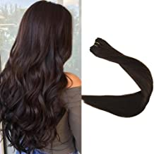 Full Shine Straight Real Remy Hair Weft Extensions 18 inch Full Head Double Wefted Remy Hair Extensions Color #2 Dark Brown Each Bundle 100grams