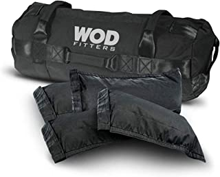 WODFitters Heavy Duty Fitness Sandbag - 4 Inner Sand Bags for Adjustable Weight - Multiple Handles, Heavy Duty Stitching, No-Leak Closure - Weightlifting, Strength Training, Exercise Equipment