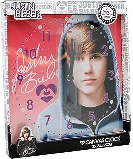 Reloj de pared con lienzo de Justin Bieber, para habitación de niños, color rosa
