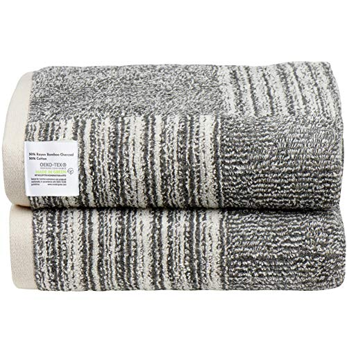 Bamboo Towels for Bathroom - 2 Pack, 30x54 Inches Large Bath Towels 500 GSM Bamboo Charcoal & Cotton Bath Sheet Ideal for Everyday Use, Easy Care Machine Wash, Absorbent & Soft Bathroom Towels Oeko