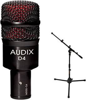 Audix D4 Hypercardioid Dynamic Instrument Microphone with MS-5220T Short Tripod Microphone Stand and Telescoping Boom
