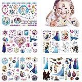 Qemsele Tatuajes Temporales para Niños Niñas, 10 Sheets 200+ Pcs Hojas Dibujos Animados Tatuaje Falso Pegatinas para piñata Niños Infantiles Fiesta de cumpleaños Regalo Bolsas Relleno (Frozen)