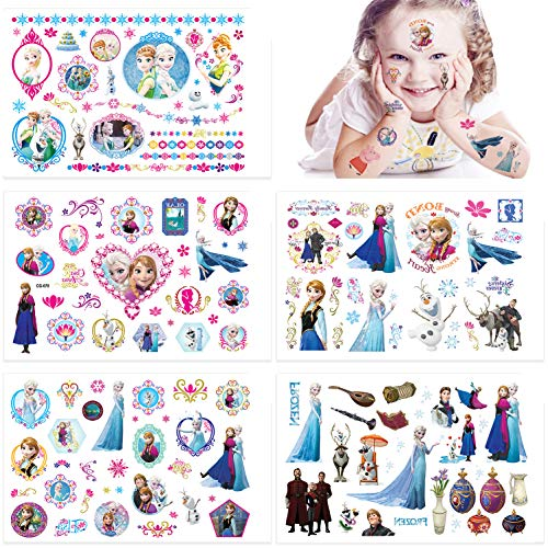 Qemsele Temporäre Tattoo Set Kinder, 10 Sheet 200+ Pcs Tattoos Aufkleber Sticker Wasserdicht Klebe-Tattoos Frozen Für Geschenktüten Kindergeburtstag Mitgebsel Mädchen Jungen Jugendliche
