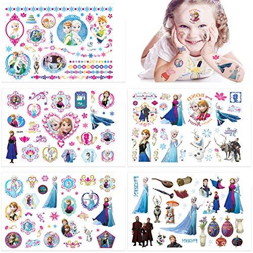 Qemsele Tatouage temporaires pour Enfant, 10 Sheet 200+ Pcs Frozen Tatouage éphémères, Autocollants De Tatouage pour Fille Garcon Favors Fête Anniversaire Fournitures Cadeaux Parti Sacs Remplisseur