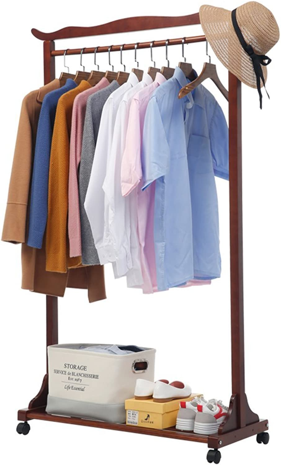 ZHIRONG Coat Rack Multifunction Floorstanding Solid Wood Hangers Mobile Clothing Rack shoes Rack Living Room Bedroom shoes Rack 67.538159cm   87.538159cm ( color   BROWN , Size   67.538159cm )