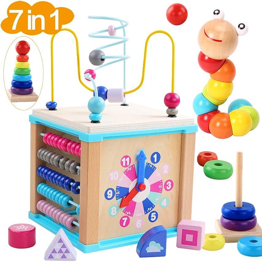 散文崖政治的WUKADA ビーズコースター ルーピング おもちゃ 子供 知育玩具 セット ベビー 早期開発 男の子 女の子 誕生日の木製 マルチアクティビティ ボックス