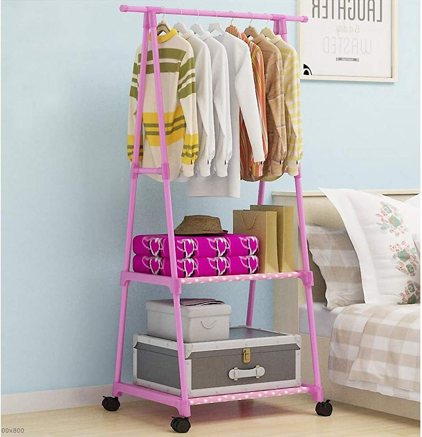 Simple Coat Rack Bedroom Drying Rack Floor Clothes Rack Wrought Iron Pipe with Wheel Hanger (color   Pink, Size   165  55  42cm)