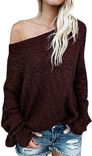 Suéter De Punto Elegante Mujer Moda Tejer Arriba Top Otoño Manga Larga Color Sólido Sin Tirantes Modernas Casual Barco Cue...