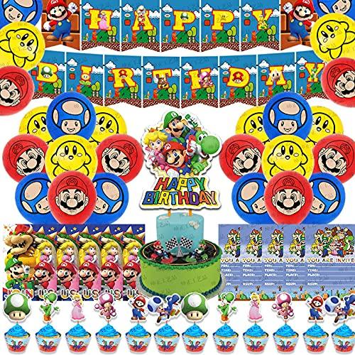 SHLMO Super Mario Party Supplies Super Mario Bros Bandera Tirando Globo Mario Decoración de Cumpleaños Mario Traje de Mario + 10 tarjetas de invitación