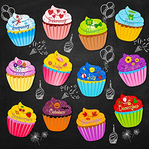 Birthday Cupcakes Cutouts Classroom Bulletin Board Cutouts Chart Decorations with Glue Point Dots for Classroom Bulletin Board School Birthday Party Accent Calendars, 9.6 x 11.6 Inch