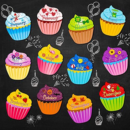 Classroom Birthday Chart Cupcakes Classroom Birthday Bulletin Board Cutouts Cupcake with Glue Point Dots for Bulletin Board Classroom School Birthday Party, 9.6 x 11.6 Inch