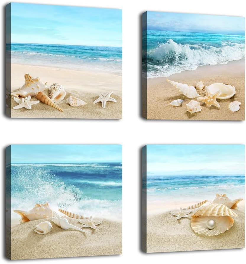 Amazon Com Beach Canvas Wall Art Ocean Decor Beach Seashell Starfish Nature Picture Blue Canvas Artwork Turquoise Contemporary Wall Art For Bathroom Bedroom Living Room Office Kitchen Wall Decor 12 X 12 X