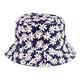 BYOS Reversible Packable Summer Daisy Printed Cotton Bucket Sun Hat,Various Patterns (Daisy Navy)