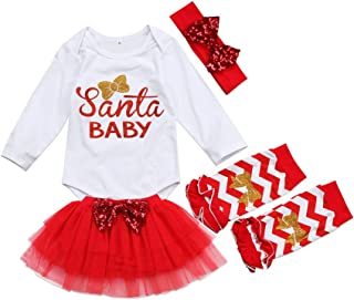 4Pcs Cute Baby Girl Long Sleeve Romper+Leg Warmers+Tutu Skirt+Headband Outfits Christmas Costume