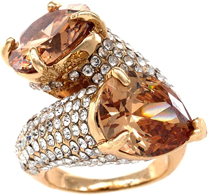 Impression Collection Fashion Gaudy Rings Wedding Party Statement CZ Cocktails Rhodium/Gold Plated Size 6-12 Women