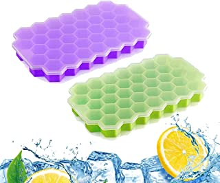 Beauenty silicone ice cube mold with lid ,compartment ice cubes shape ice cube trays , BPA Free , 2 pieces 37 Stackable I...