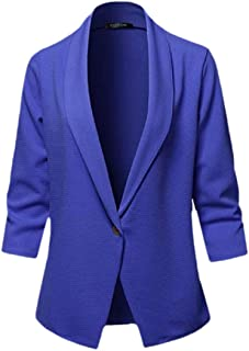 Macondoo Women's Casual 3/4 Sleeve Coat One Button Blazer Jackets