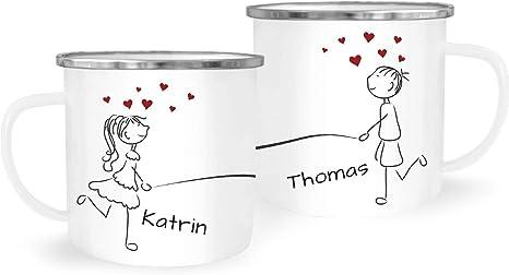 Kaffee-Tasse mit Namen Liebes-Paar Strichmännchen Motiv personalisierbar