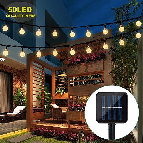 Solar Lichterkette Aussen, Ventdest LED Solar Lichterkette mit Kristall Kugeln wasserdicht 7M 50 LEDs 8 Modi Beleuchtung für Garten, Terrasse, Bäume, Hochzeiten, Fest Deko (warmweiß)