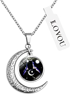 ILOVOU 12 Constellation Moon Pendant Necklace Astrology Galaxy & Crescent Necklaces Bohemia Fashion Gifts for Women/Men 1...