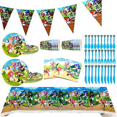 Vajilla de Fiesta, NALCY Sonic The Hedgehog Party Supplies Juego de Decoración, Suministros de Fiesta Sonic para Cumpleaños de Niños Cartoon Anime Theme Artículos para Fiesta de Cumpleaños