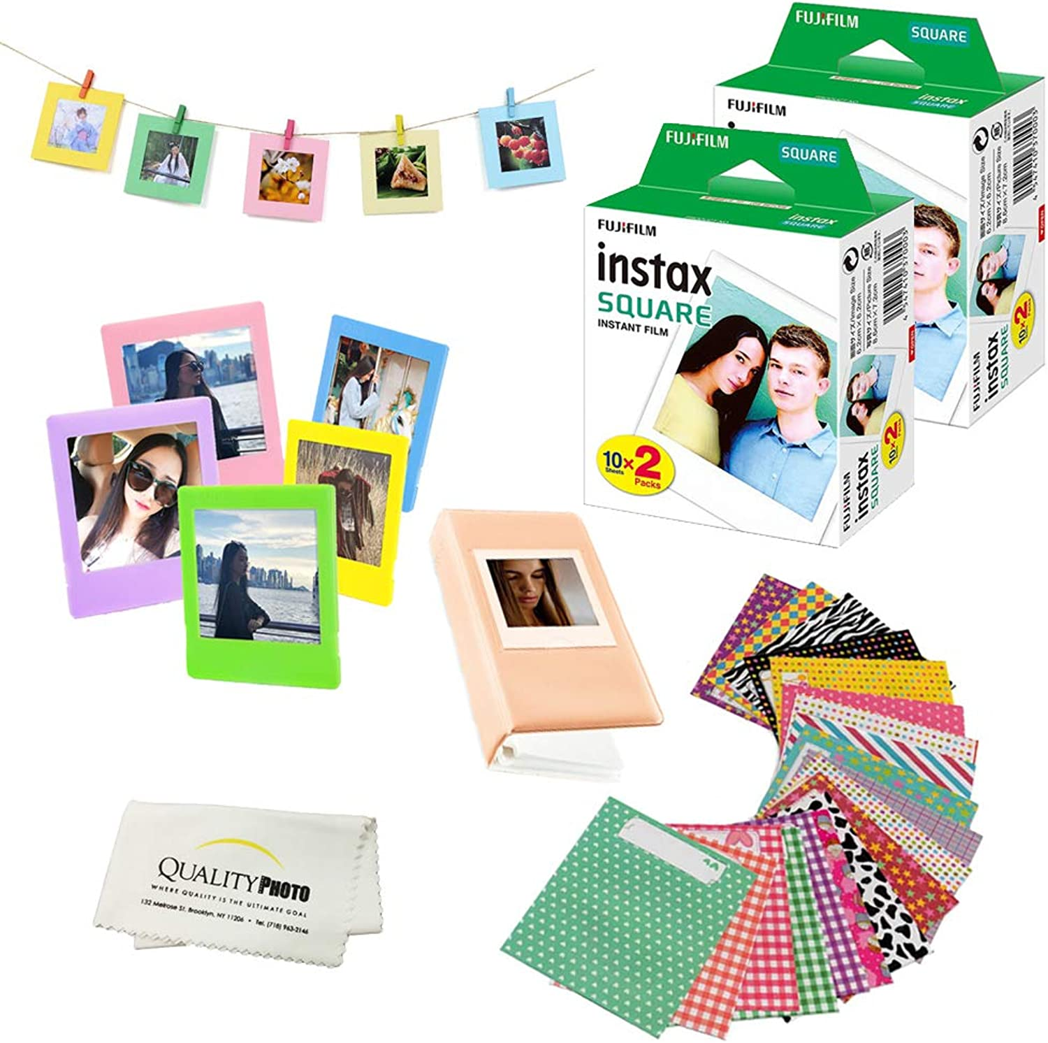 Fuji SQ6 Instax Square Accessory Bundle. 40 Fuji Square Films+5 Plastic Frames for Prints,10 Hanging Frames,20 Stickers to Decorate Your Prints,Album+Quality Photo Microfiber Cloth