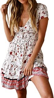 06c5dc751981 Sunmoot Sexy Women's Boho Print Deep V Neck Cross Wrap Short/Half/Long  Sleeve