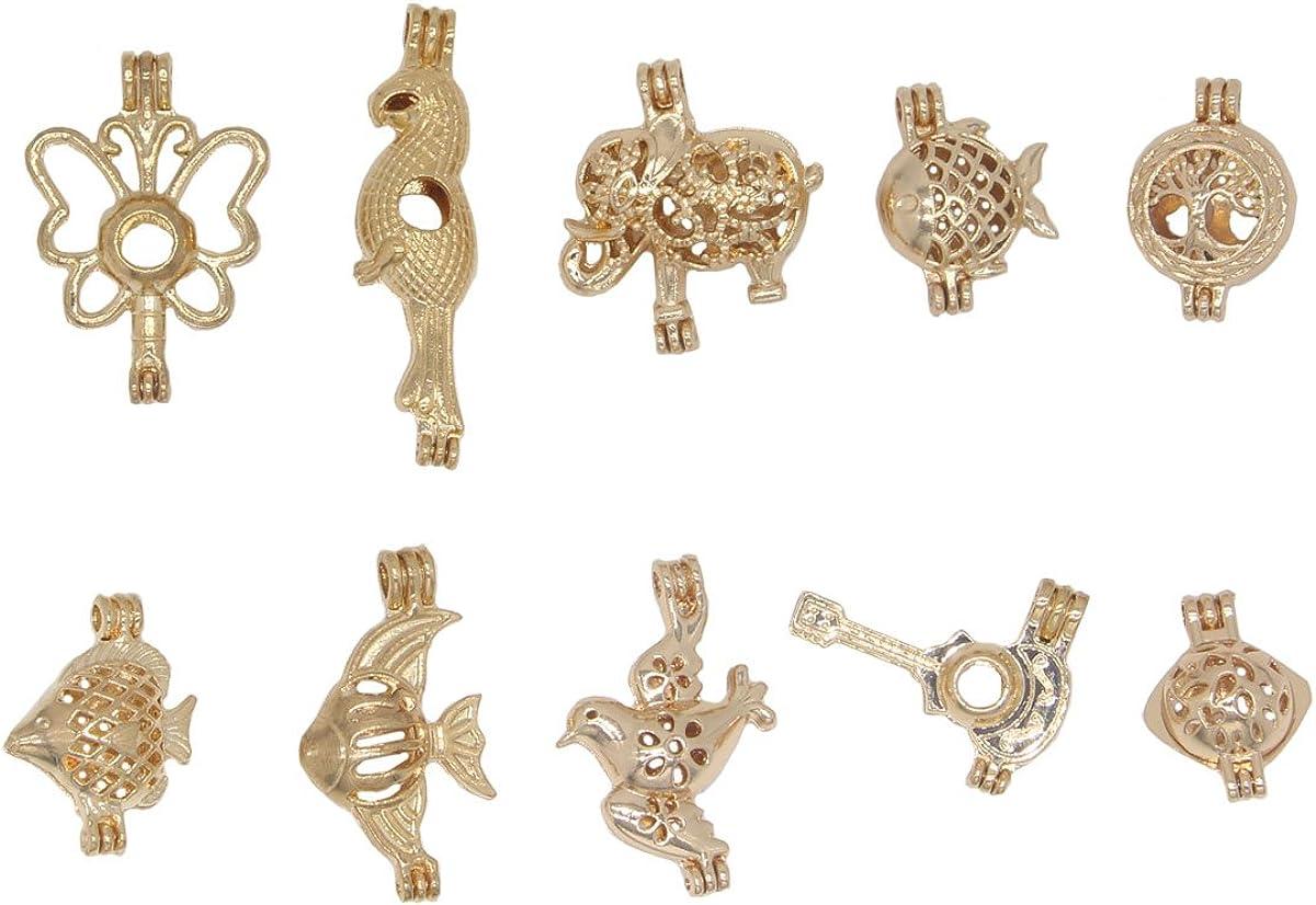 10pcs Mixed Style Finally popular brand Gold Tone Elephant Fish Cage Bead Atlanta Mall Pend Bird