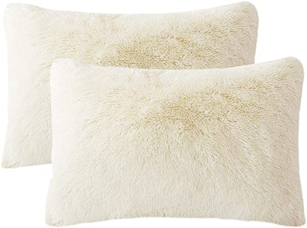 LIFEREVO 2 Pack Shaggy Plush Faux Fur Pillow Shams Fluffy Decorative Pillowcases Zipper Closure Standard Queen Light Beige