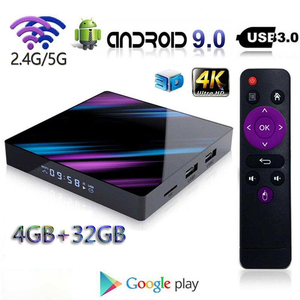 Febelle Android 9.0 TV Box H96 MAX Rockchip RK3318 4K Smart TV Box 2.4G y 5G WiFi BT4.0 Reproductor Multimedia,4+32G: Amazon.es: Electrónica