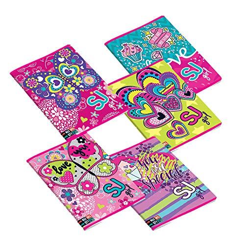 LEMA-NET 5 Maxi quaderni A4 RIGO A Seven SJ Girl 5C2001908/A a Righe 1°/2° elementare Fogli 100gr Extra Strong Fantasie assortite 21x29,7cm Copertina 250gr Max quantità