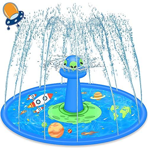 Tappetino Gioco d'Acqua per Bambini, LUKAT 170CM UFO Tappetino Spruzzi Tappetino da Gioco Splash Pad Giochi dacqua da Giardino Piscina Gonfiabile Bambini 2 3 4 5 6 7 8+ Anni