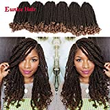 Eunice 6 Packs 12 Inch Ombre Brown Crochet Hair Braids Short Curly Havana Twist Crochet Braiding Hair Senegalese Twists Hairstyles For Black Women 20 Strands/Pack (T1B/27)
