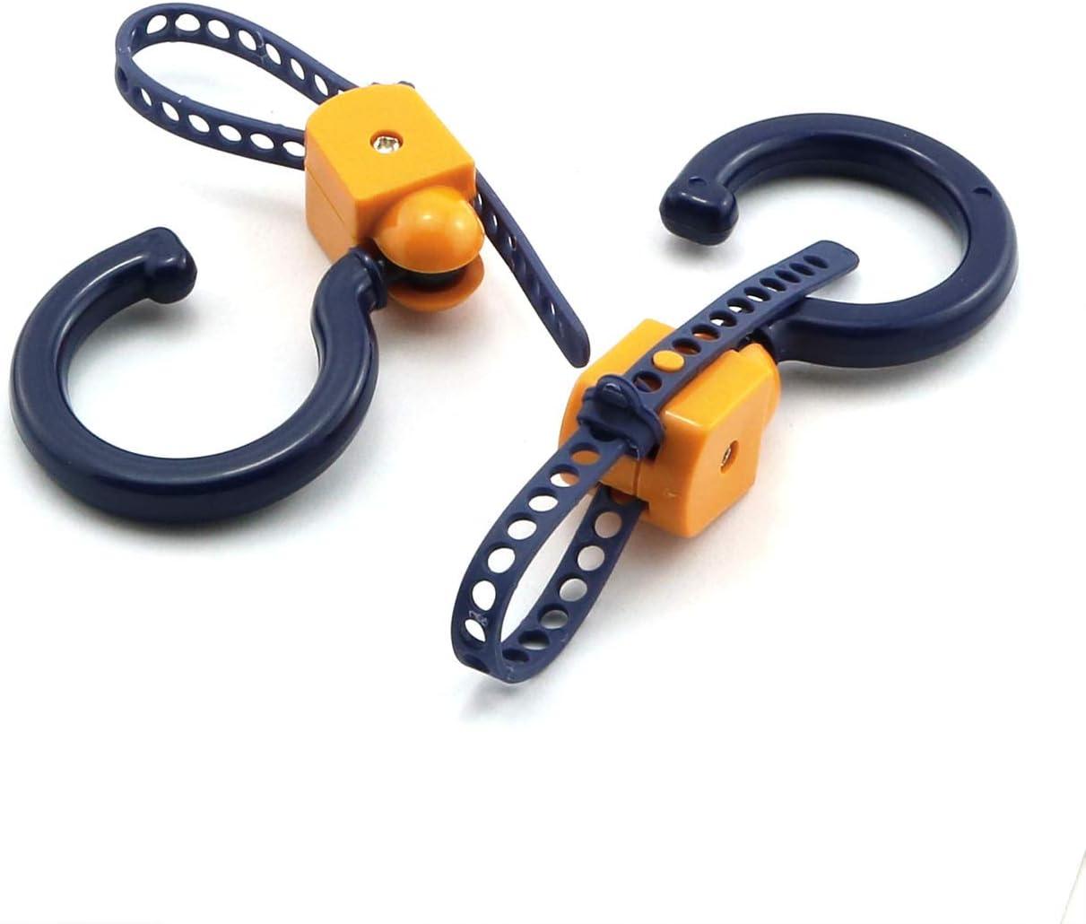 JCBIZ 2PCS Hanger Hook 360 Degree Rotate Swivel Baby Stroller Hooks Hanging Pram Cart Holder Clips Accessories Multi Purpose Blue+Orange