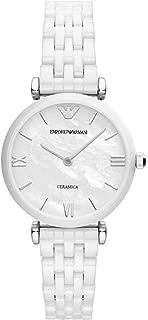 Emporio Armani Women's Quartz Watch With Black Dial Analogue Display Quartz Ceramic Ar1485, White Band