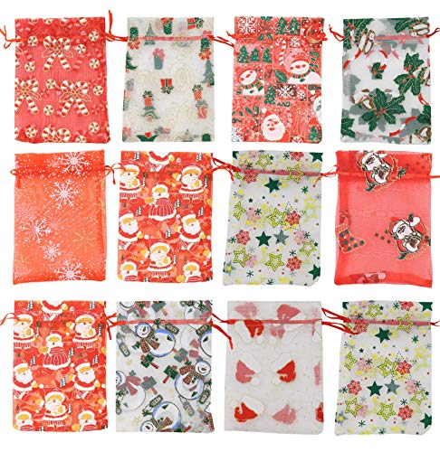 Stratalife 30Pack Christmas Wrapping Gift Bags with Ribbon Ties, Large Size Holiday Foil Bags,Assorted Styles Candy Gift Bags for Xmas Party Holiday(3 Size)