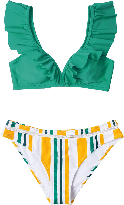 CUPSHE Women's Orange Floral Bottom Ruffle Hook Closure Bikini Set