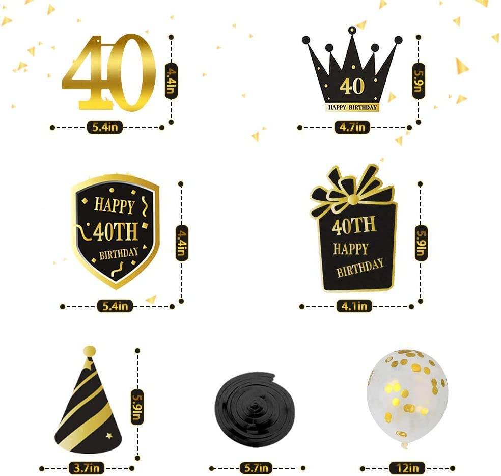 Baby Shower Party Decorations Happy Gold Birthday Banner Balloons Hanging Swirls for Happy Birthday Decorations Wedding Birthday Decorations 40th Birthday Gifts for Women /& Men /& Girl /& Boy