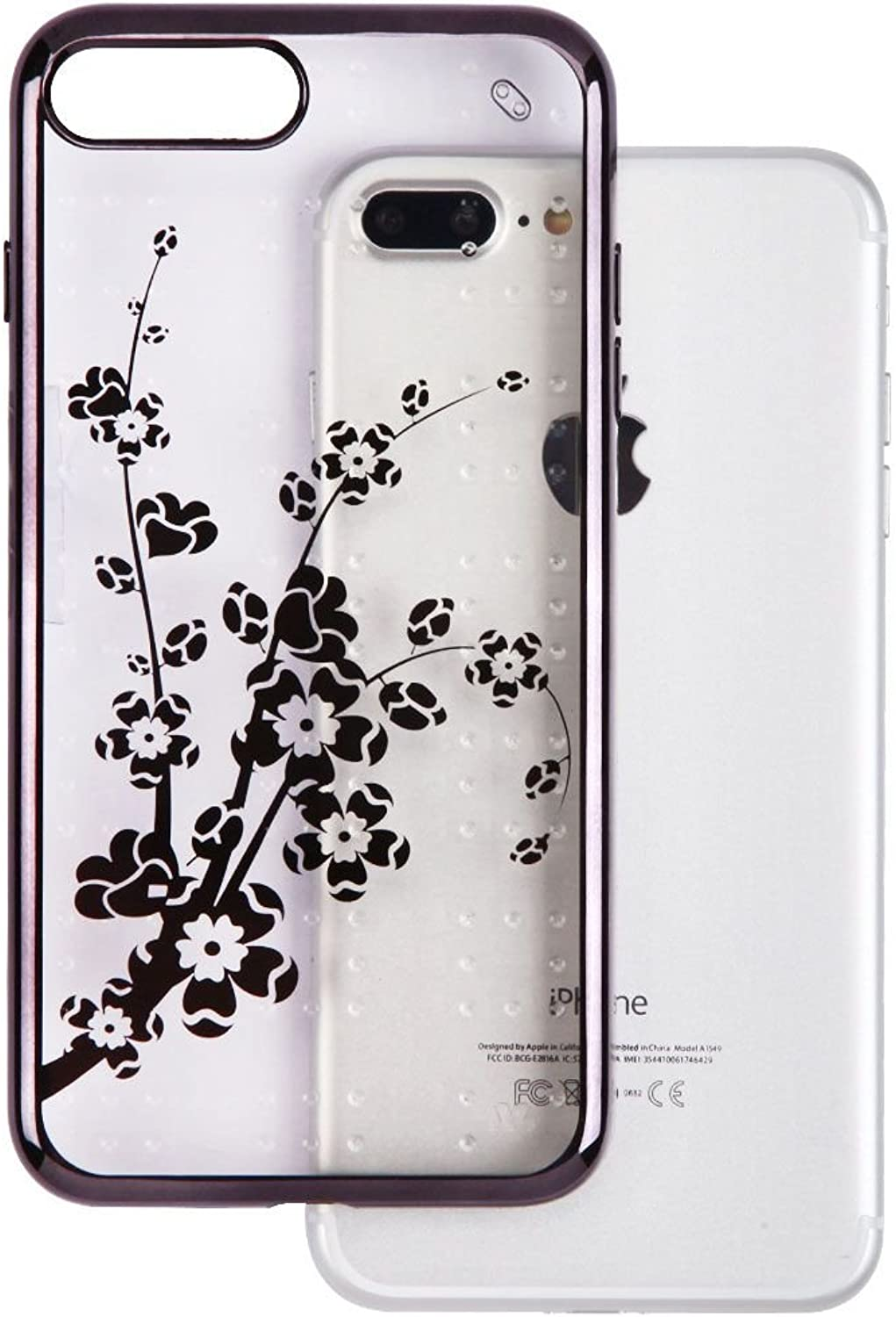 MyBat Spots Electroplated Premium Candy Skin Cover (with Package) for Apple iPhone 7 Plus  Black Glassy Spring Flowers