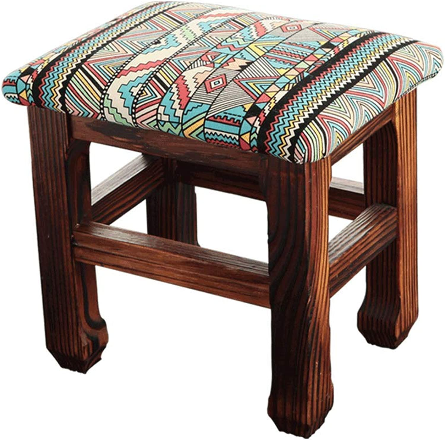 JXLBB Small Stools, Solid Wood, Pine, Fabric Stools, A Variety of Optional,26x20x25cm (color   A)