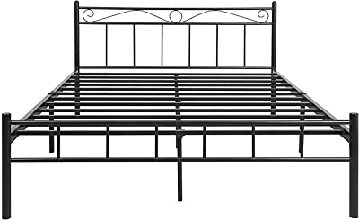 FurnitureKraft London King Size Metal Bed (Glossy Finish, Black)