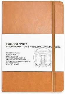 Guissi クラシックドットグリッド ブレットノートブック ジャーナル ドットハードカバー A5 プレミアム 100gsm 厚手 中性紙 ファインインナーポケット付き フェイクレザー オフィス 学校用品 ブラウン