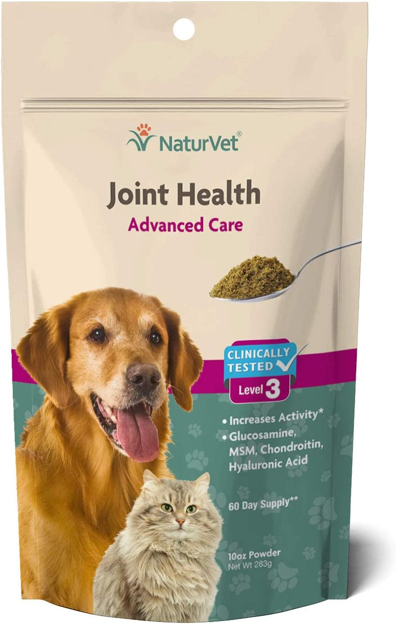 NaturVet Joint Health Level 3 Pet Supplement for Cats & Dogs – Helps Support Hip & Joint Function – Includes Hyaluronic Acid, Glucosamine, MSM, Chondroitin – 10 Oz. Powder : Pet Bone And Joint Supplements : Pet Supplies