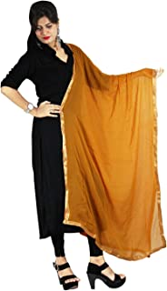 Traditional Plain Golden Lace Dupatta Fashionable Semi Chiffon Chunni Neck Wrap Hijab Scarf Stole For Women's